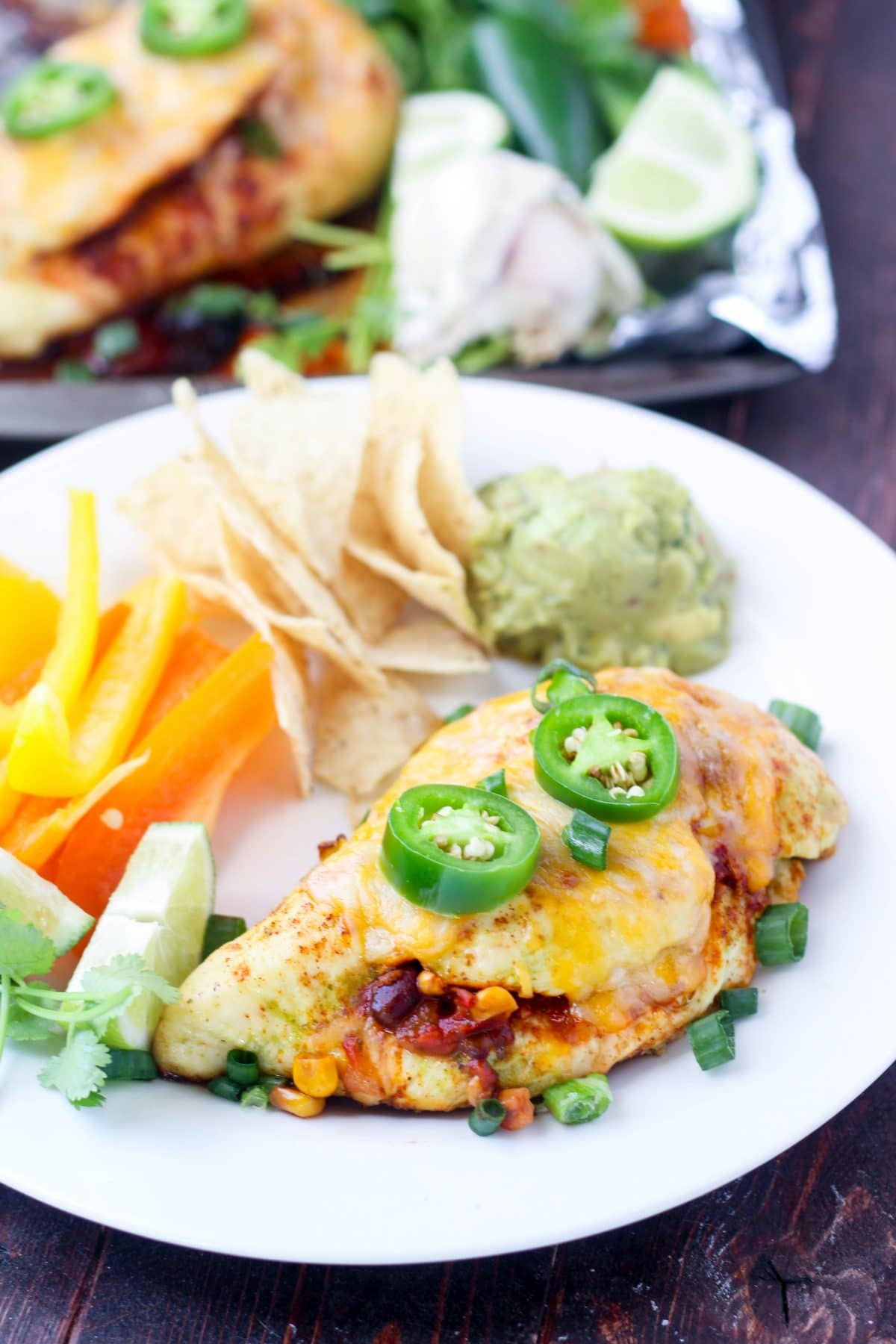 Baked Salsa Stuffed Chicken ready to eat on a plate