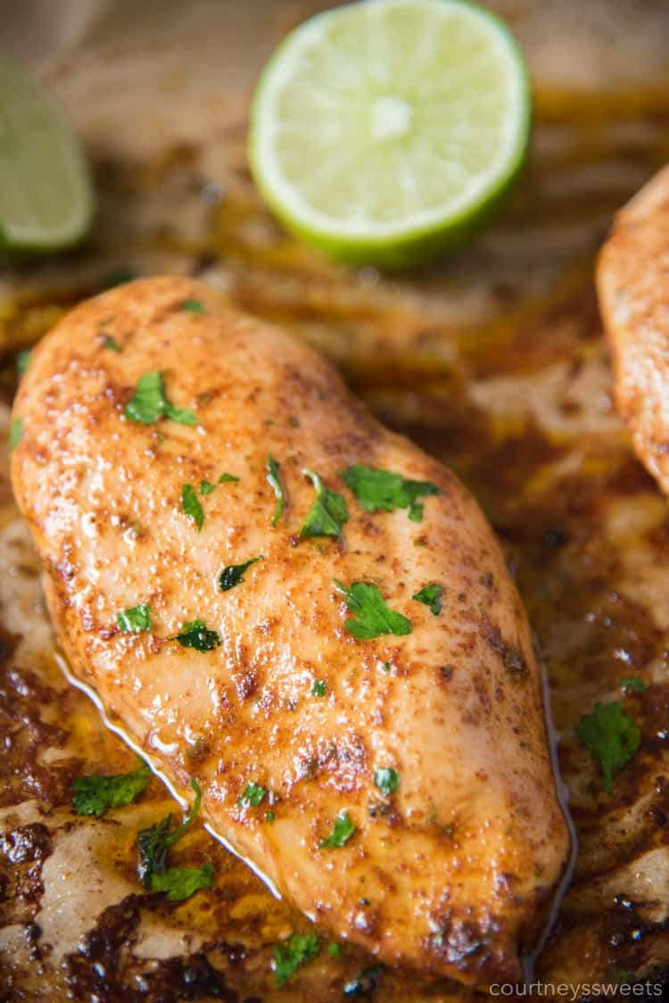 Chili Lime Chicken on a baking sheet