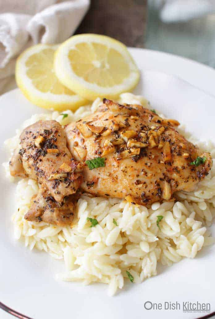 Lemon And Garlic Chicken For One served over rice