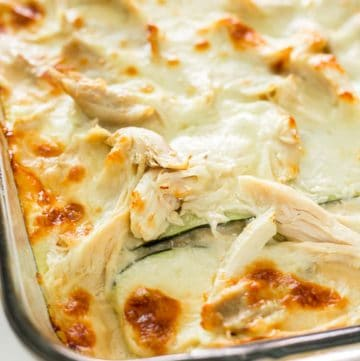 Close up of a just baked White Sauce Zucchini Lasagna with Chicken