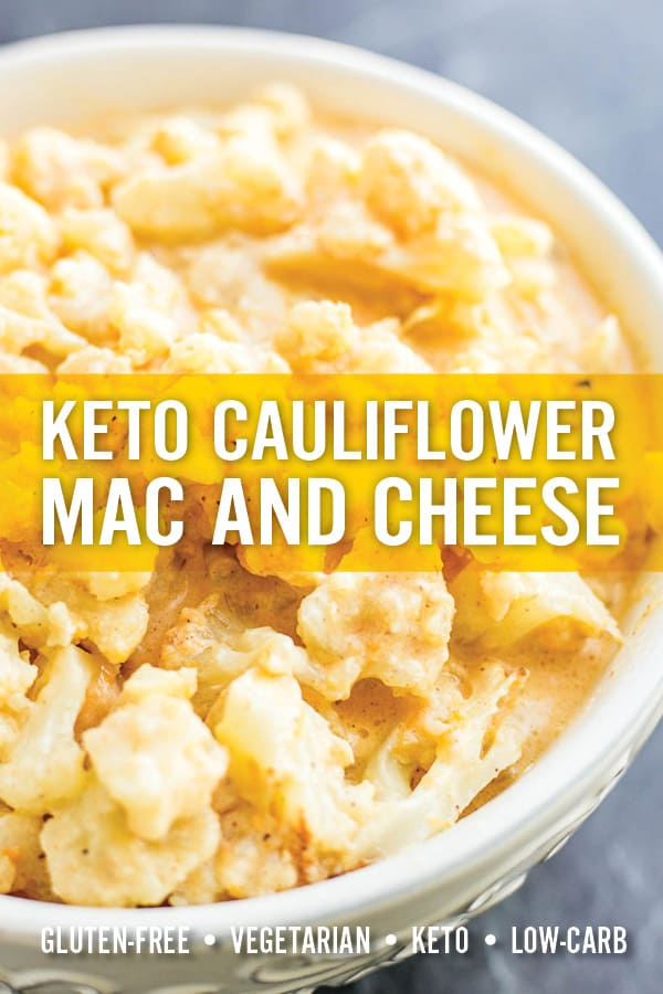 Quick and easy Cauliflower Mac and Cheese has all the goodness of mac and cheese without the gluten or carbs. Roasted cauliflower rice in a rich and creamy homemade cheddar cheese sauce. It\'s low-carb, gluten-free and vegetarian. #macandcheese #ketomac #cauliflowerrice #cauliflowermac