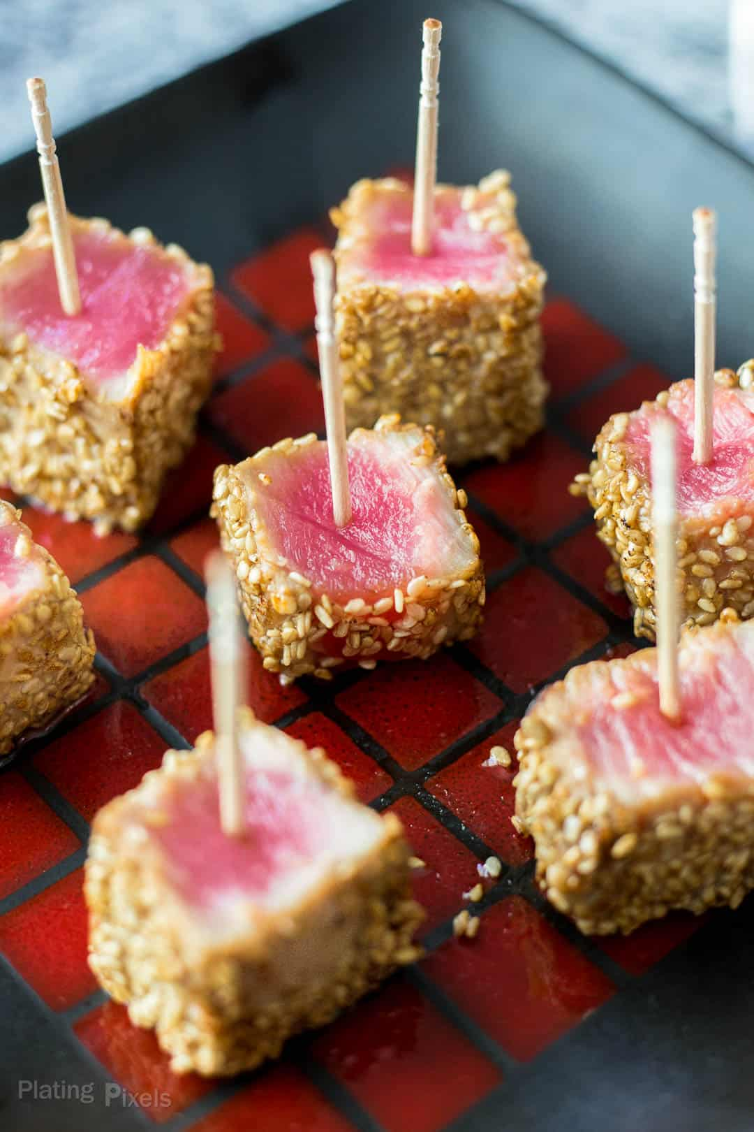 Seared Sesame Seared Ahi Tuna Bites plated and ready to serve