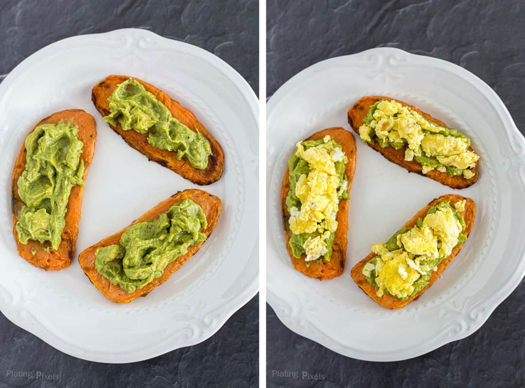 Sweet potato toasts with avocado with another photo of scrambled eggs added