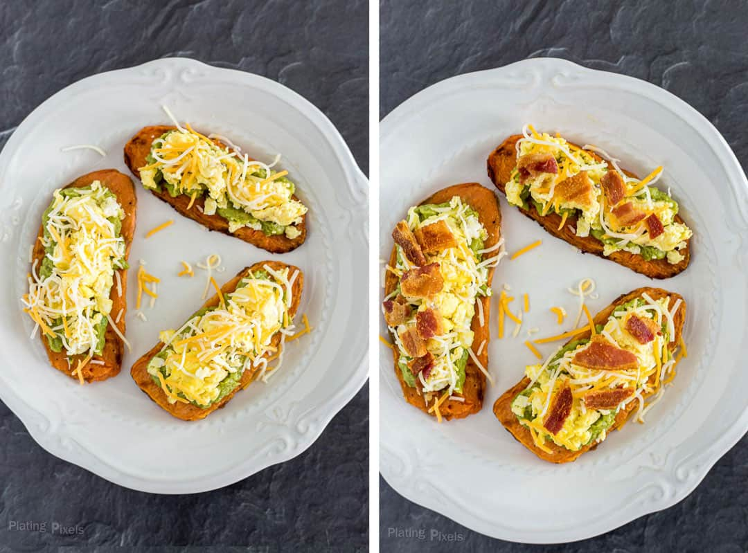 Next step showing adding cheese then bacon to sweet potato toasts