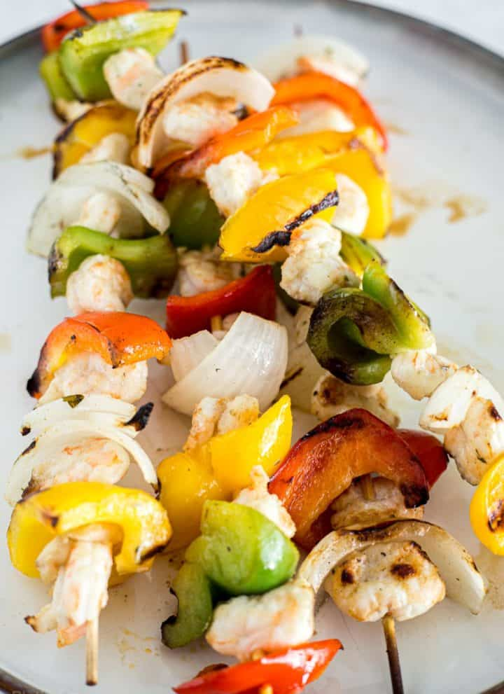 Pile of Grilled Shrimp Fajitas Skewers ready to serve