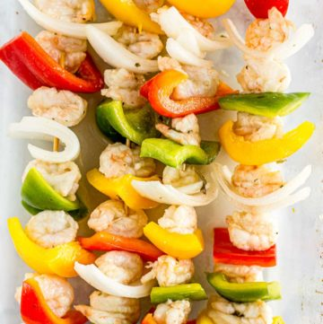 Shrimp Fajitas Skewers prepared on skewers before grilling