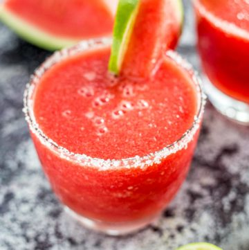 Close up shot of a Frozen Watermelon Margarita