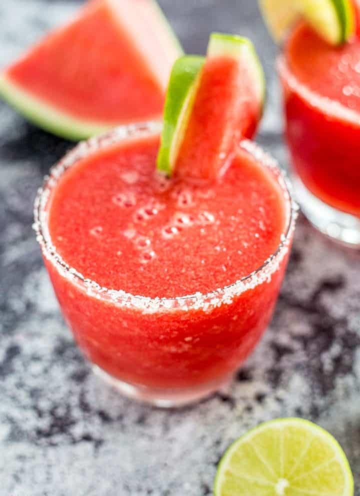 Close up shot of a Frozen Watermelon Margarita