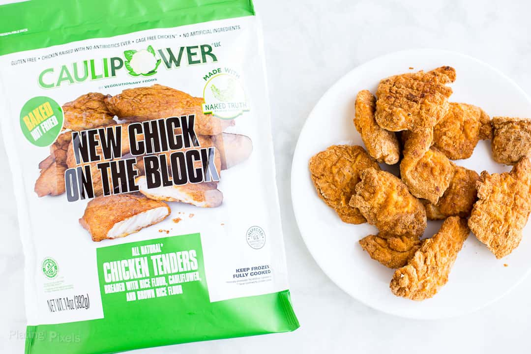 CAULIPOWER Chicken Tenders next to product bag