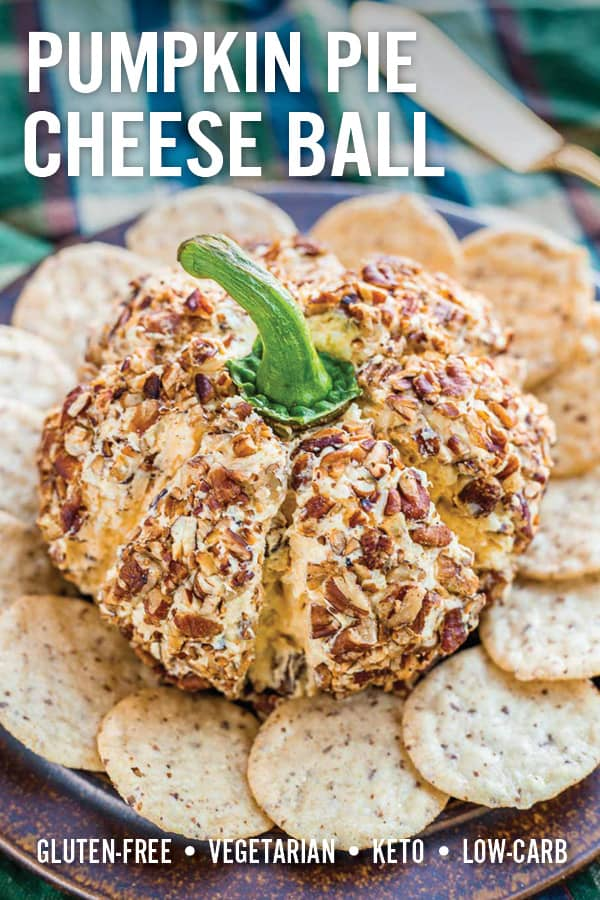 This festive holiday Pumpkin Cheese Ball recipe is perfect for fall and Thanksgiving. It\'s super easy to make and has sweet and savory flavors that resemble a pumpkin pie. Includes cream cheese, pumpkin puree, pumpkin pie spice, maple syrup, and toasted pecans. It even looks like a pumpkin! #cheeseball #thansgiving #cheeseappetizer #pumpkin