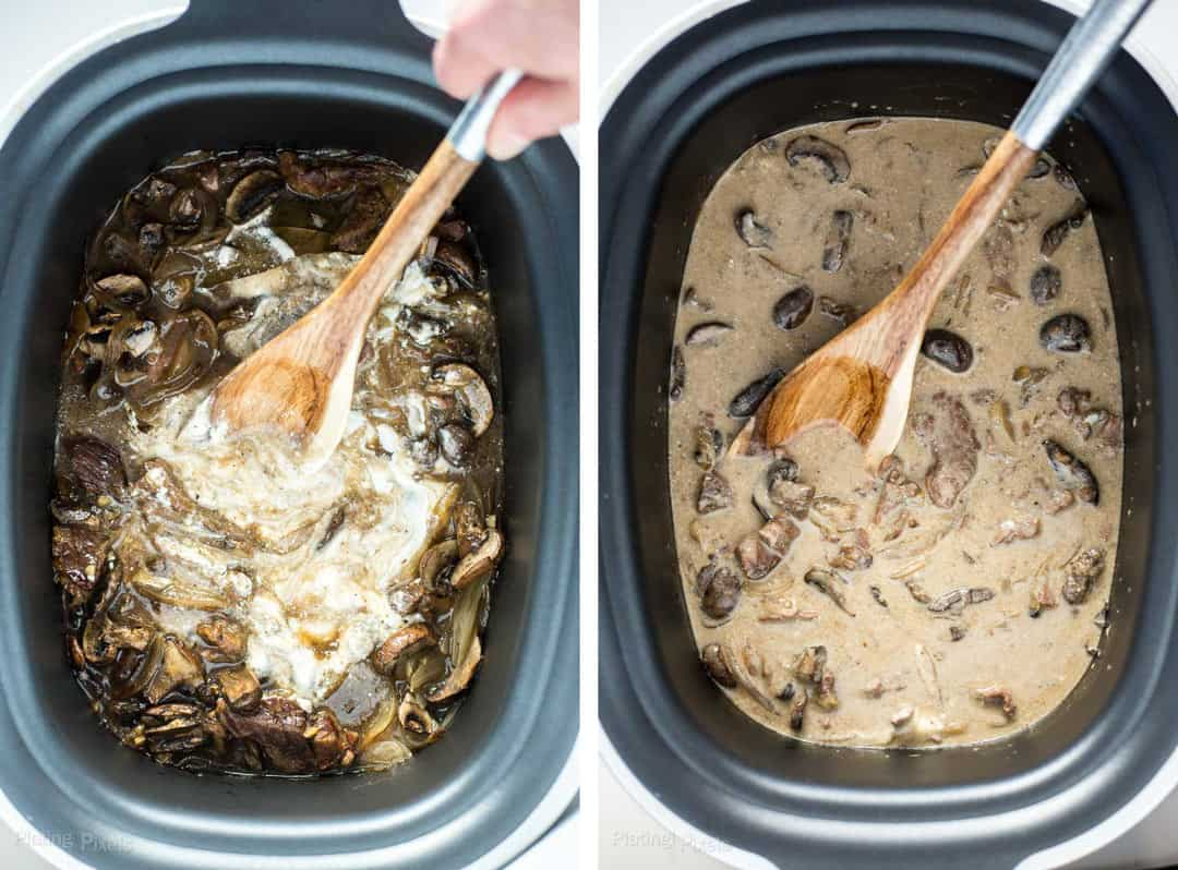 Two images showing adding sour cream and stirring sauce for beef stroganoff