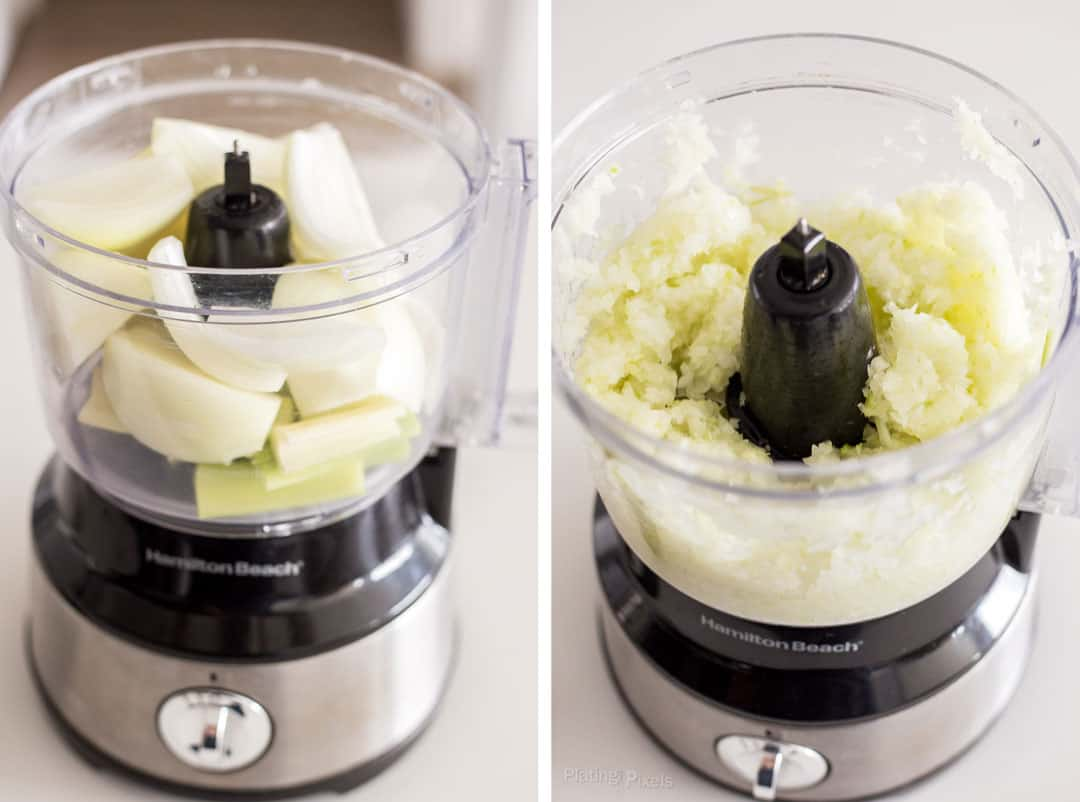 Process shot of chopping veggies in a food processor