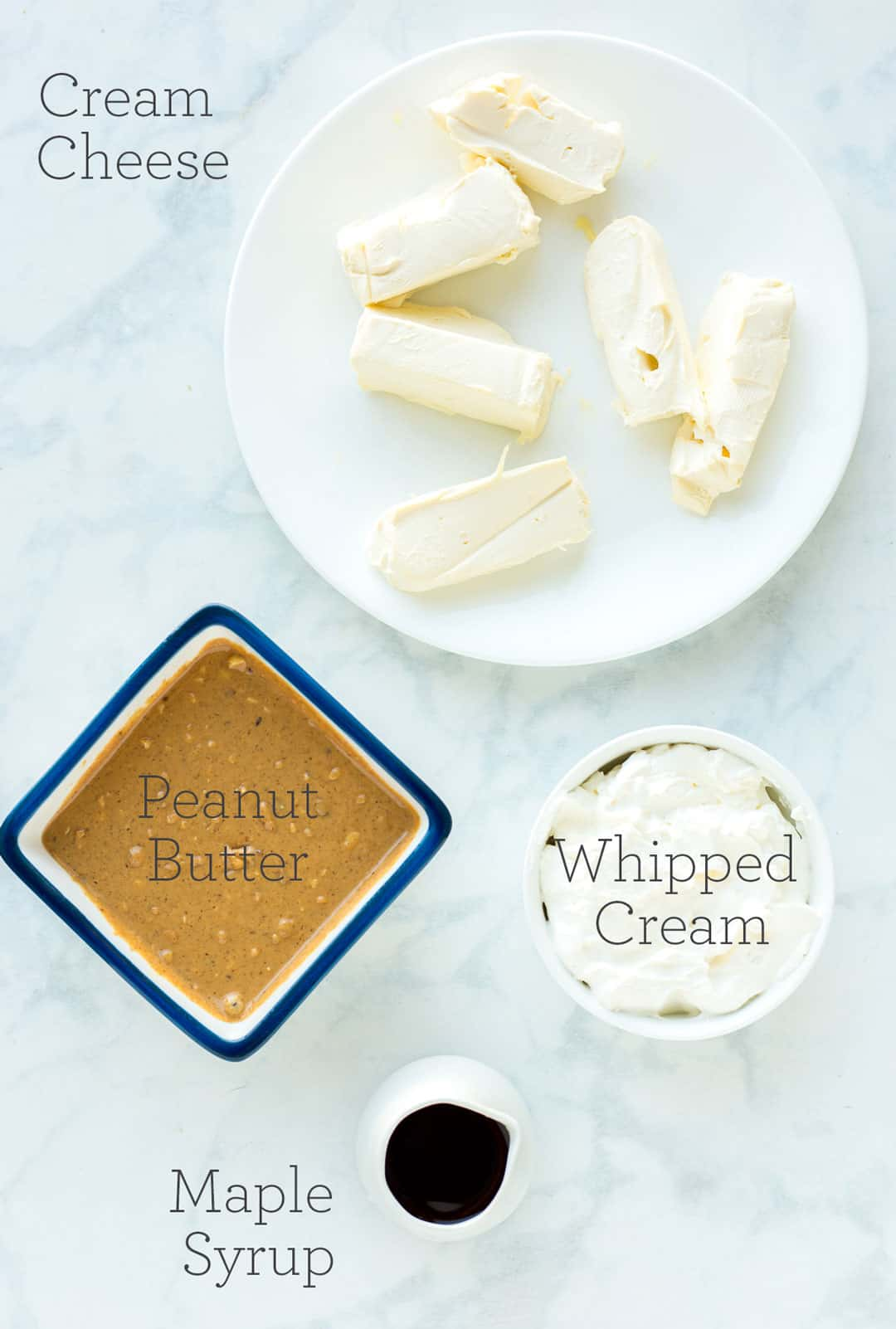Ingredients to make Peanut Butter Dip with text overlay on each item