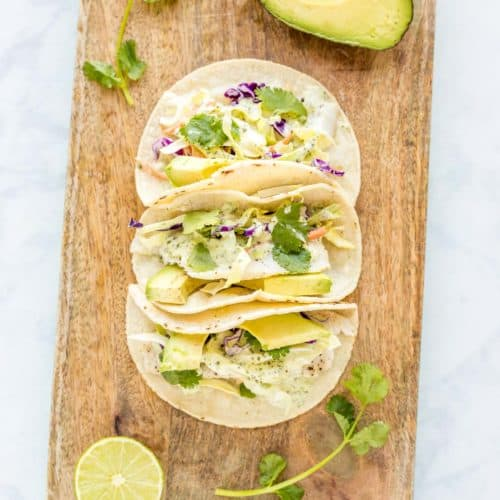 Baked Fish Tacos with Cilantro Dressing