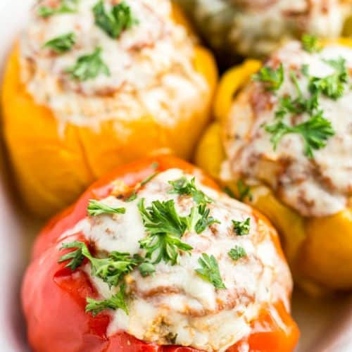 Instant Pot Turkey Stuffed Bell Peppers (Keto/Low-Carb)