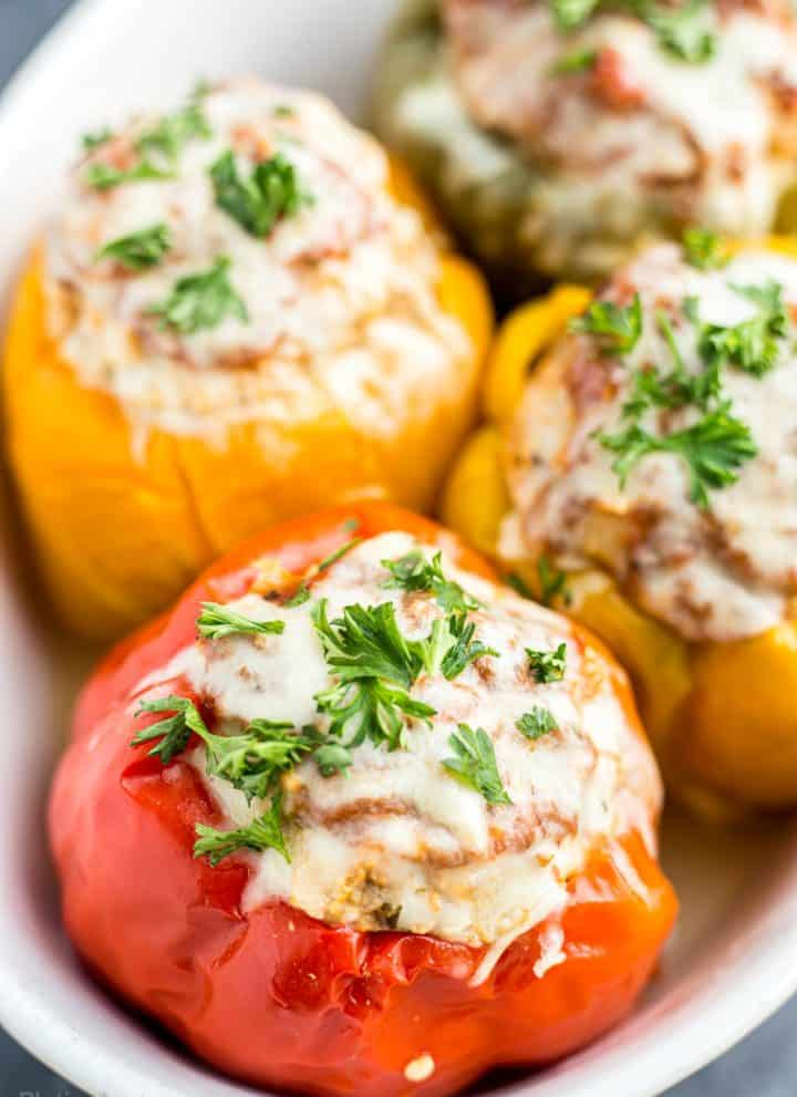Close-up of just cooked Instant Pot Stuffed Bell Peppers ready to eat