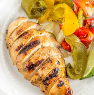 Close up of Grilled Chicken Fajitas served on a plate