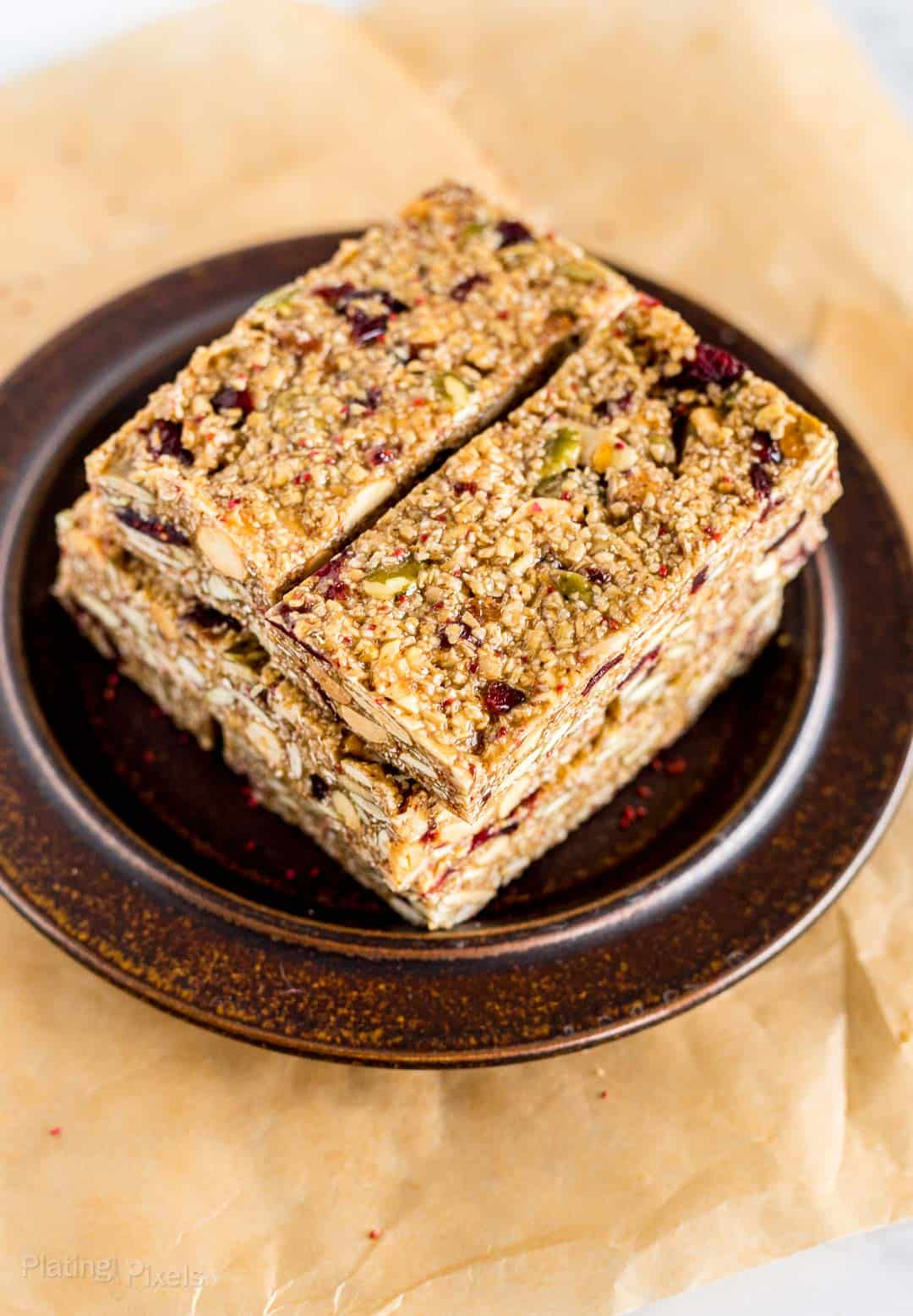 Cranberry Almond Granola Bars on a plate