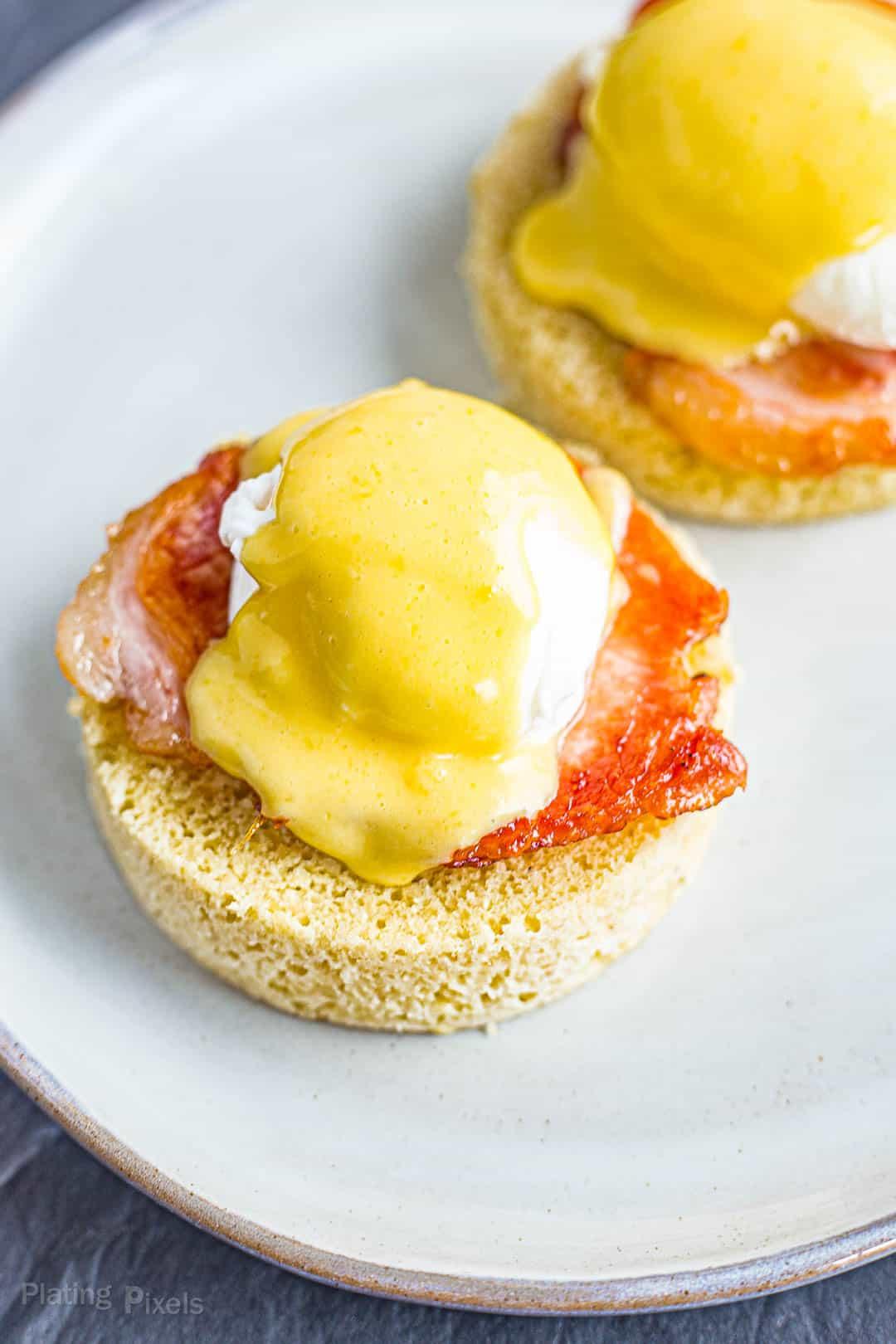 Keto Eggs Benedict prepared on a plate