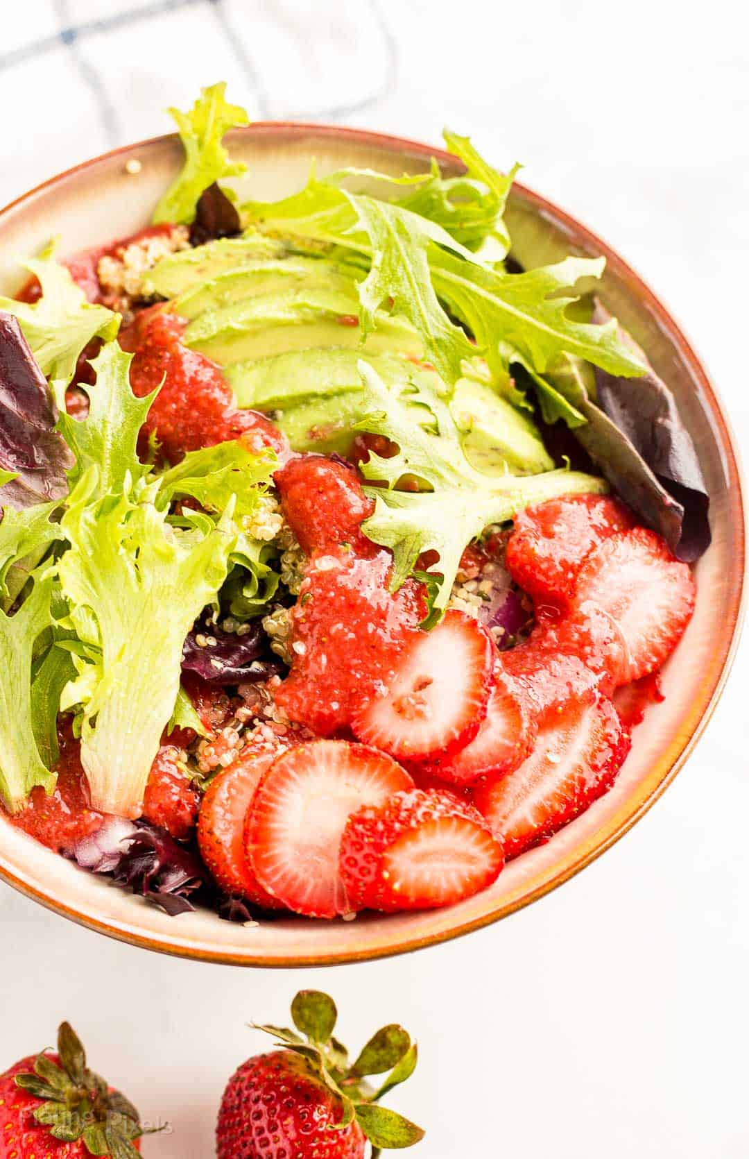 Prepared Summer Strawberry Salad in a bowl