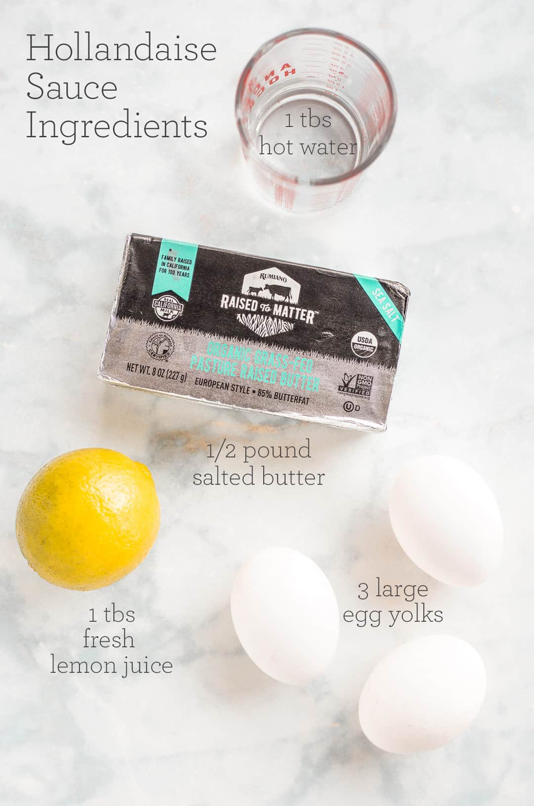 Ingredient for Hollandaise Sauce on a counter with text overlay for amounts required of each ingredient
